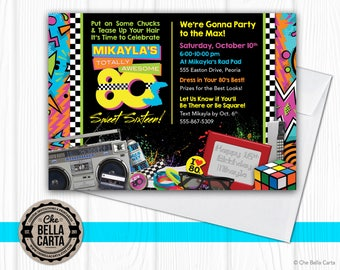 80s Party Customized Printable Invitation