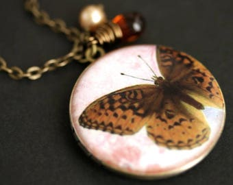 Brown Butterfly Locket Necklace. Amber Butterfly Necklace with Dark Amber Teardrop and Pearl Charm. Photo Locket. Bronze Necklace.