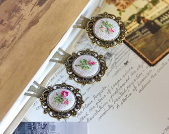 Set of 3 bookmarks with cross stitched roses / primitive / hand embroidered bookmarks / petite point / souvenir