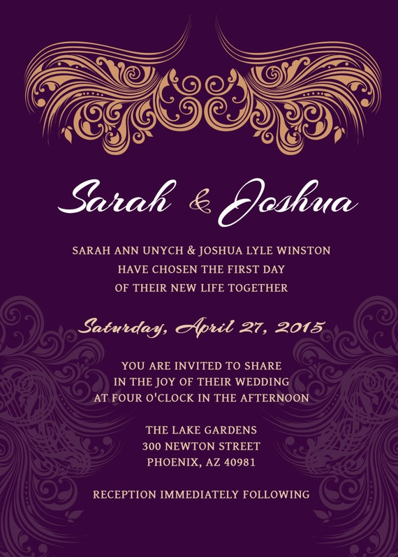 purple and gold invitation templates