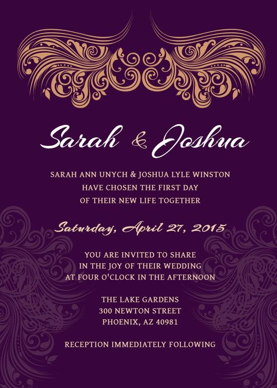 Wedding Invitation Deep Purple Gold Printable Wedding