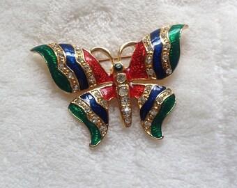 Jewel Tone Butterfly Brooch - Vintage Pin - Costume Gold - Enamel - Rhinestone