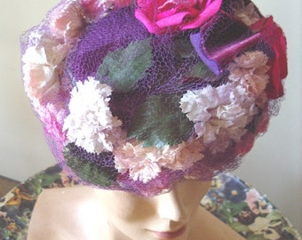 "1940's ""TOY"" Style  Cocktail Hat Roses/ Cornflowers on Purple Straw  Item # 783  Hats"
