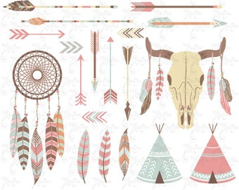 "Tribal Clipart pack ""INDIAN CLIP ART"",teepee tents, dream catcher, feathers, arrows, borders, indian clip art, wedding invitation Trb003"