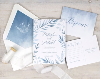 dusty blue wedding invitations, rustic wedding invitations, spring wedding invitations, boho wedding invitations, light blue watercolor