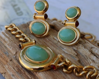 ELIZABETH TAYLOR AVON Set,  Collectible, Faux Jade earrings and Necklace, Classic 22K Plated, 1993