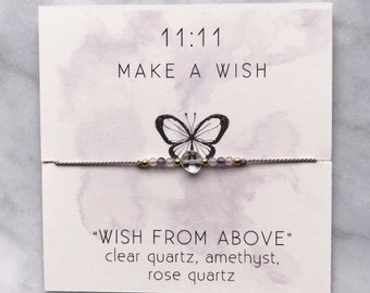 A WISH FROM ABOVE - 11:11 Wish String bracelet with faceted Clear quartz, Amethyst, and Rose Quartz