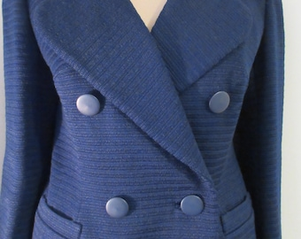 """Vintage 1950's Navy Blue Jacket Skirt Suit MADE IN ENGLAND By 'Cojana' - Chest 38"""""""