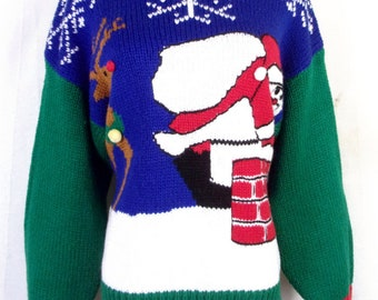 vtg Karen Scott BUSY Party Winner Ugly Christmas Sweater HUGE SANTA pixelated M
