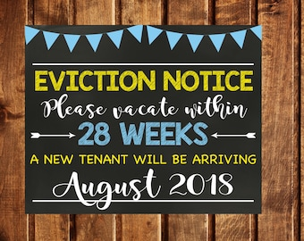 Eviction Notice Digital File, Pregnancy Announcement Sign, Older Child Eviction Notice, Second Child Announcement, Photo Prop, New Tenant