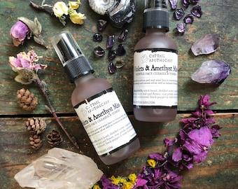 Face Toner Violets & Amethyst Mist / Non-Drying Herbal Skin Toner / Herb Infused Facial Cleanser / Astringent / Organic Violet Rose Yarrow