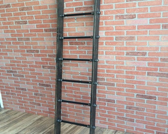 Decorative Ladder | Pipe Ladder | Wooden Ladder | Industrial Pipe Display | Clothing Storage | Throw Blanket Ladder | FAST FREE SHIPPING!!!
