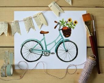 Bicycle Art/ Farmer's Market Art/ Spring Art/ Kitchen Art/ Kitchen Decor/ Bike Ride-8x10