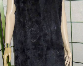 Nice preowned black rabbit fur  sleeveless vest/lining - M  Excellent condition