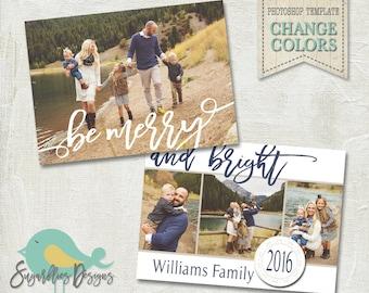 Holiday Card PHOTOSHOP TEMPLATE - Family Christmas Card 155