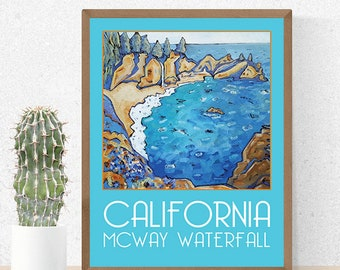 California Poster, Big Sur, Landscape Painting, Print, Wall Art, Home Decor, California Painting, Big Sur Poster, McWay Waterfall, Seascape