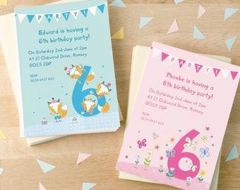 Personalised Sixth Birthday Party Invitations