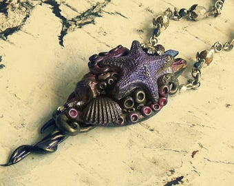 Ocean Goddess Necklace, Fairytale Gift, Ren Faire Jewelry, Statement Starfish Necklace, Starfish Necklaces For Women, Sea Witch Necklace