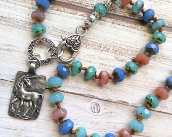 Pewter Unicorn pendant necklace, Hand knotted bead necklace, handmade by rubybluejewels