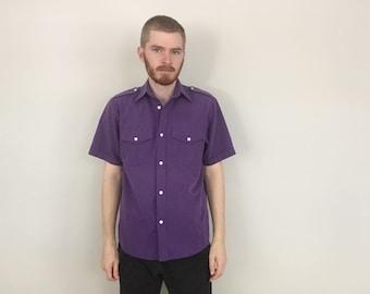 vtg Purple Epaulet Safari Shirt size MEDIUM ~ 16064