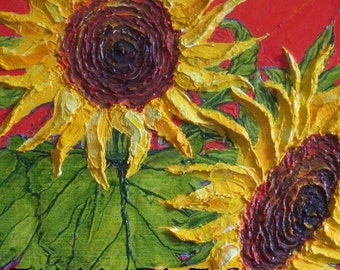 Custom Order for 24x24 Original Sunflower Impasto Oil Painting by Paris Wyatt Llanso