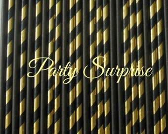 Black and Gold Straws Stripe Gold foil and Solid Black Straws Wedding Bridal Shower Birthday Coffee Bar Drink Table Fancy Party Straws