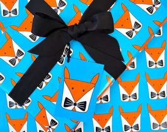 Fox Wrapping Paper Pack-Fox Gift Wrap Set-Childrens Birthday Gift Wrap Pack-Cute Fox Lover Gifts-Woodland Animal-Bow Tie-Boy Wrapping Paper
