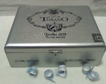 Cigar Box Silver, Flip Top Box, Man Cave Decor, Wood Cigar Case, Memory Box, Wood Anniversary Gift for Him Mary Lynn Savko RoadSideBoutique