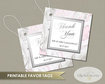 Pink & Grey Marble Favor Tags | Square Tags, Gift Tags | DIY Instant Download