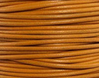 "2mm Round Marigold Leather Lace Cord - 2mm 3/32"" Diameter Dark Yellow Gold Craft Jewelry Bracelet Wrap Necklace - I ship Internationally"