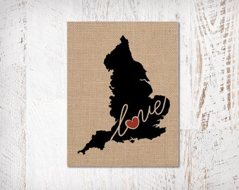 United Kingdom Love - Burlap or Canvas Paper State Silhouette Wall Art Print / Home Decor (Free Shipping)
