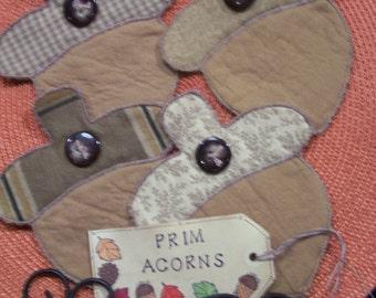 Primitive Country FALL ACORNS NUTS Fabric Coasters Mug Mats Bowl Fillers Ornies
