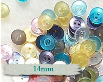 50 Buttons, 14mm, Slide, 2 holes, mixte gray, olive, violet, yellow,white, pink, BA03