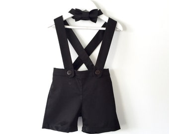Baby boy suspender shorts black shortalls and bow tie ring bearer outfit page boy outfit