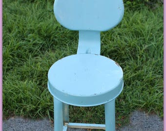 Fabulous vintage metal stool old AQUA paint ~ shabby industrial stool robins egg blue ~ French Farmhouse