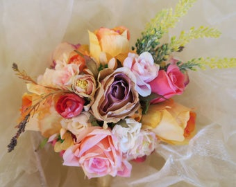 Luscious bridal bouquet, warm colors bouquet, whimsical bouquet, wedding bouquet, pink bouquet, orange bouquet, boho wedding bouquet
