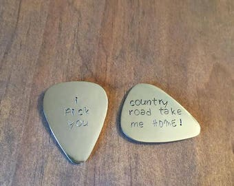 Guitar Pick Magnets- Hand Stamped Magnets- I Pick You Magnet- Country Road Take Me Home Magnet- Refrigerator Magnets- Fathers Day Gift