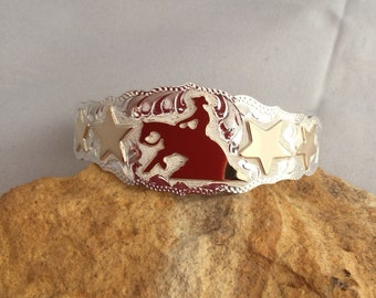 Reiner Cuff Bracelet with Stars/ Sterling Silver/ 1 20th,12kt gold overlays/ Handmade and Engraved in Oklahoma