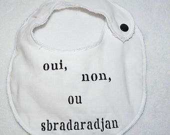 Small embroidered bib, choice of colors