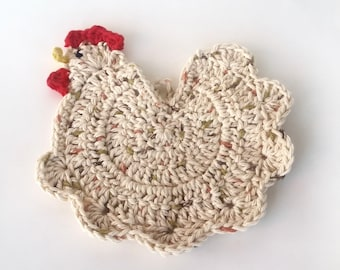 Chicken Cotton Hot Pad, Crochet Chicken Kitchen Potholder, Speckled Chicken