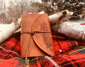 Rustic Handmade Leather Journal with Hand-Carved Feather Design