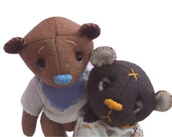 Toffee teddy bear soft toy sewing pattern