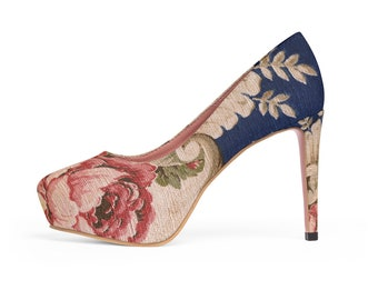 Women's Platform Heels Vintage French Style Roses Fashion Shoes High Heels