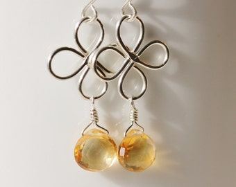Citrine Earrings Argentium Sterling Silver Clover Golden Yellow November Brithstone Hammered Semiprecious Gemstone - Luck of the Irish