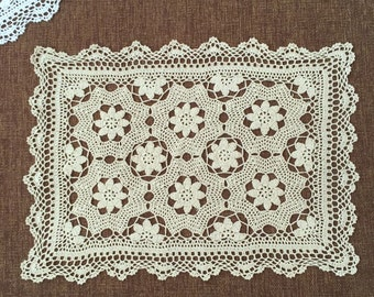 "American style hand crochet 20""x28""  rectangular table cover, handmade floral oblong floral tablecloth table topper for home decor"