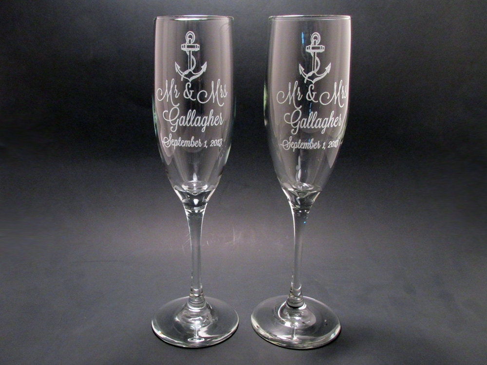 Personalized Anchor Champagne Flutes Wedding Toasting
