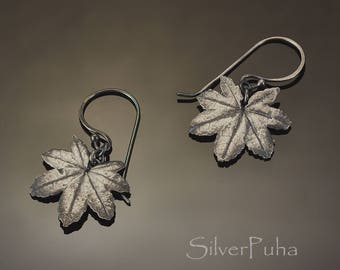 Miranda Maple silver leaves earrings