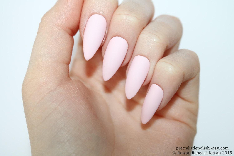 Stiletto nails Matte pastel pink stiletto nails Fake nails