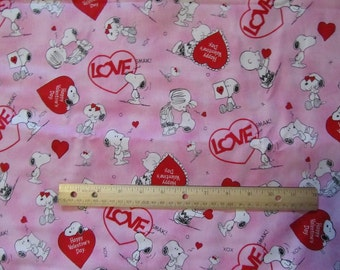 Pink Peanuts Gang Valentine Cotton Fabric by the Half Yard