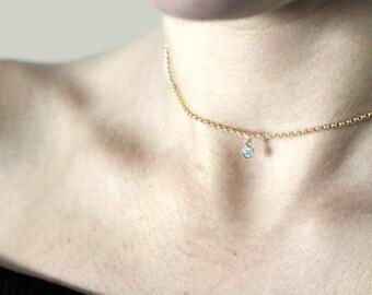 Solitaire Choker Necklace / Tiny CZ Diamond Necklace / Gold necklace / Delicate Minimal Necklace